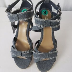NWT Chaps Denim Wedges Ankle Strap Size 8
